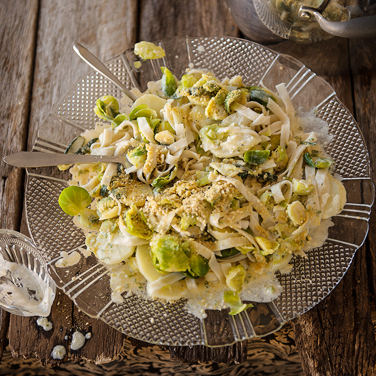 Fettuccine with Brussels Sprouts and Sage Butter