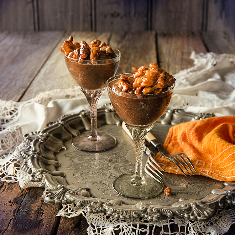 Vegan Chocolate Mousse with Maple Walnuts
