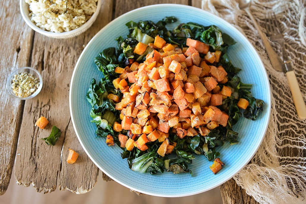 Miso Glazed Squash ans Sweet Potato with Spinach