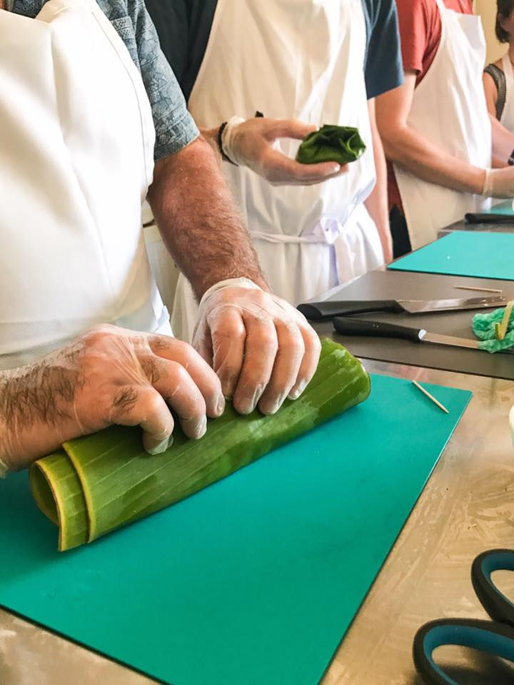 Learning to wrap with banana leaves